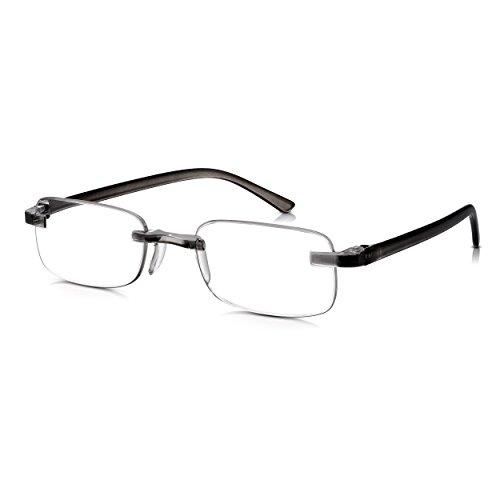Read Optics randlose Lesebrille: Graue Lesehilfe für Herren/Damen in Stärke +2,5 Dioptrien. Stabil dank neuer patentierter Befestigung der Gläser. Aus starkem, leichtem Polykarbonat, mit Blendschutz