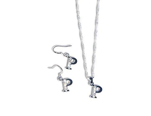Preisvergleich Produktbild Enez Set 925 Silber Plattiert Halskette + Ohrringe Buchstabe P 46cm 1 X 1cm R1569b