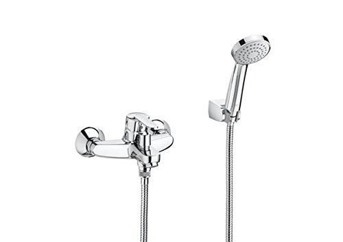 Roca A5A0125C02 Victoria - Mezclador monomando exterior baño-ducha con inversor automático, ducha de mano, flexible de 1,70 m. y soporte de ducha fijo