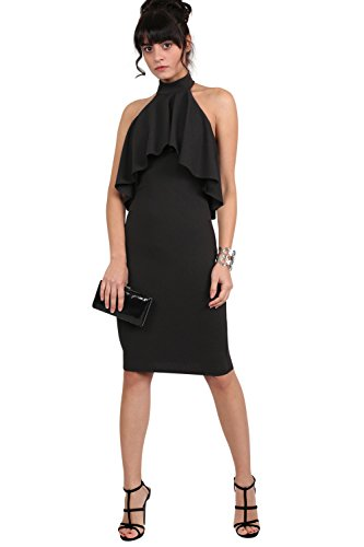 PILOT® profond détail jabot col licou robe moulante midi Noir