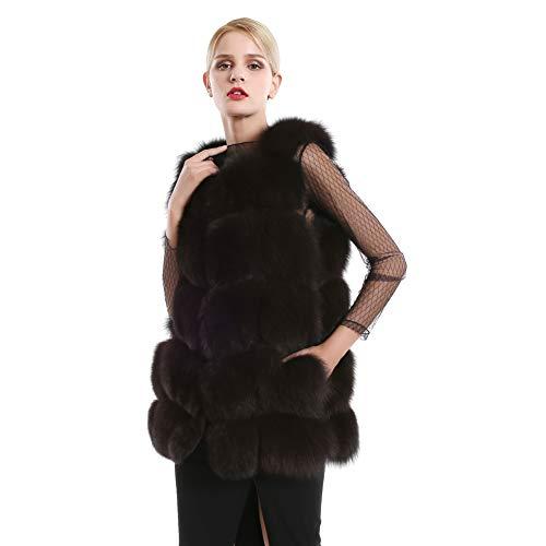 Queenfur gilet di pelliccia di volpe per le donne - inverno caldo medio signore gilet di pelliccia di volpe argento gilet di pelliccia vera di lusso (caffè, xxxl(oberweite:108cm))