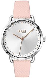 ساعة بسوار جلدي زهري ومينا فضية بيضاء للنساء من هوغو بوس - 1540053