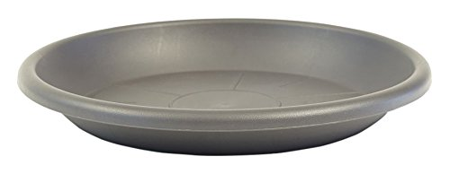 "greemotion Plant Saucer Grey Mira 24cm - UV and Frost Proof Plant Saucer to be Paired with ""Fiona"" Garden Pot Series - Plastic Flower Pot Saucers"