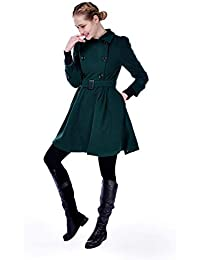 EGCRA Abrigos Abrigo De Cinturón De Invierno Medio Largo Largo De Manga Larga De Mujer Hebilla