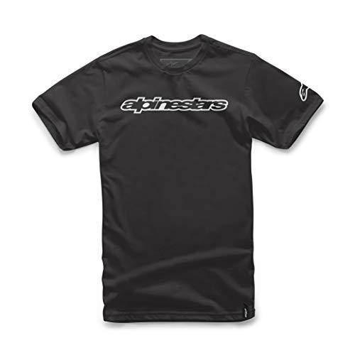 Alpinestars Wordmark Tee - Herren T-Shirt aus 100% Baumwolle, Sportlicher Kurzarmshirt, Körperbetonter Schnitt - Schwarz