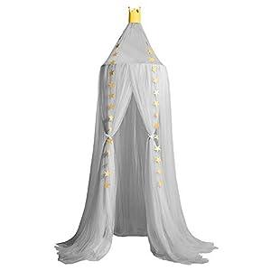 Sfit Moskitonetz für Kinderbett Kuppel Mückennetz Spitze Betthimmel Rund Insektennetz ein Aufhängekit 4 Öffnungen Baldachin Fliegennetz 240cm Höhe Kuppel Durchmesser 60cm
