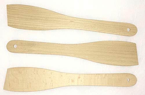 Die schönen Dinge Pfannenwender 3er Set aus Buchenholz umweltfreundliche Bratenwender Backschaufel lebensmittelecht 30cm EINWEG-verpackt(3)