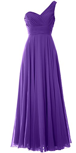 MACloth Women One Shoulder Long Bridesmaid Dress Wedding Party Evening Gown purple