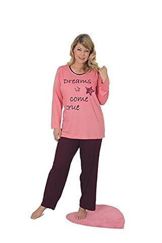 Pyjama long pour femme grande taille -en 2couleurs différentes Taille 48/50, 52/54, 56/58& 60/62 - rose - XX-Large