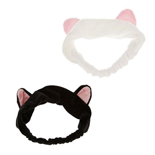 Gazechimp 2 Stück Pack Katzenohren Haarband Stirnband Haarreifen, ideal beim Gesicht zu waschen, Make up oder als Party und Tägliche Dekoration