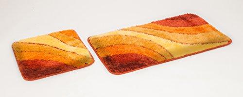 2- teiliges Badematten Set Sliding-Wave Terra I Badvorleger 50x90, WC Vorleger 50x45 I Garnitur I Teppich I Badezimmer I Matte I Badematte I Vorleger …