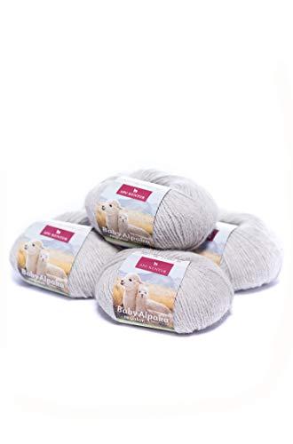 APU KUNTUR 100% Baby-Alpaka Wolle | Strick-Häkel-Garn weich, warm und kratzfrei | Vorteils- 5er-Pack | 100m, Nadel 4 | wunderschöne Farben zum angenehmen Stricken und häkeln | hell-grau -