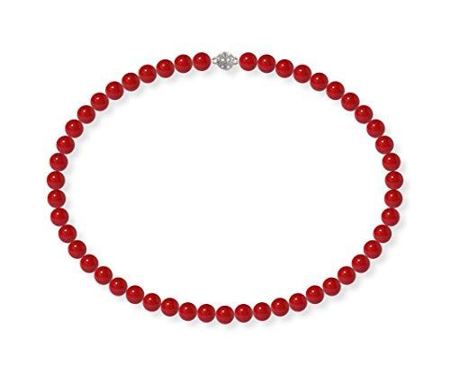 Schmuckwilli Damen Muschelkernperlen Perlenkette Rot Magnetverschluß echte Muschel 45cm dmk0005-45 (8mm)