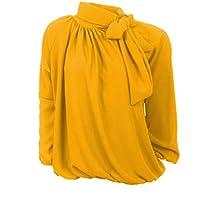 Moda Italia Elegante Schlupfbluse Damen Bluse aus Chiffon Schluppenbluse  mit Steh, Schleifen Kragen Pump Bluse 73b8a409c1