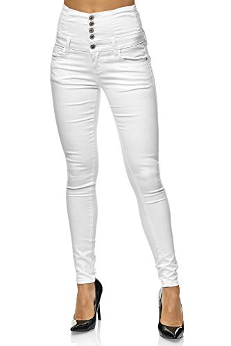 Elara Damen Stretch Jeans Skinny High Waist Chunkyrayan 2071 M White 36