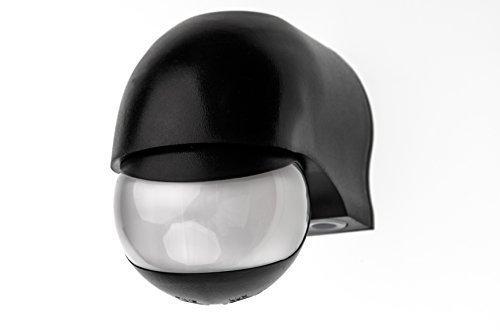 HUBER MOTION 3, Infrarot Bewegungsmelder 180°, schwarz, horizontal und vertikal einstellbar, für Innen- und Außenbereich, IP44 Spritzwasser geschützt