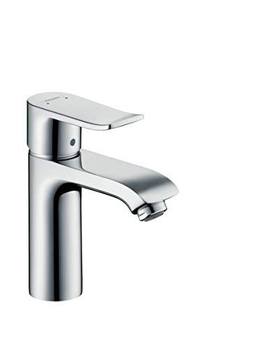 hansgrohe Metris Einhebel-Waschtischmischer, Komfort-Höhe 110mm mit Zugstangen-Ablaufgarnitur, chrom