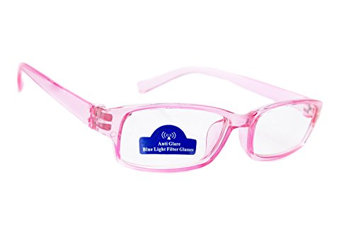 MFAZ Morefaz Ltd Slim Damen Herren Lesebrille +0.50 +0.75 +1.0 +1.5 +2.0 +2.5 Blue Light Filter Brille Blendschutz, Kratzfestes Objektiv Computer TV Anti Glare (2.00, Pink)