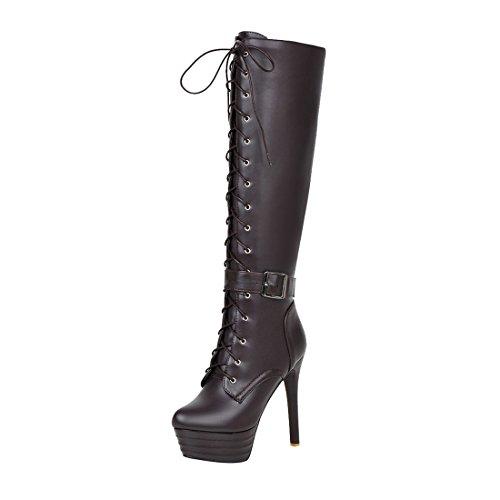 UH Damen Schnür Overknee Stiefel Plateau Langschaftstiefel mit Stiletto und Reißverschluss Fashion Schuhe