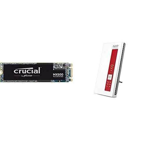 Crucial MX500 CT500MX500SSD4 500 GB Internes SSD (3D NAND, SATA, M.2 Type 2280SS) & AVM FRITZ!WLAN Repeater 1750E, Rot/Weiß, deutschsprachige Version