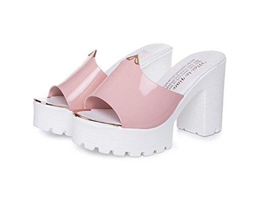 LGK&FA Scarpe Donna Cool Pantofole Tacchi Alti Rimorchio Tacco E Bocca Di Pesce Moda Sandali Ciabattine 38 Rosa 38 Pink