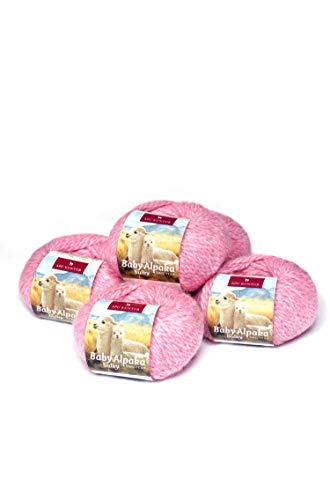 APU KUNTUR 100% Baby-Alpaka Wolle | Strick-Häkel-Garn weich, warm und kratzfrei | Vorteils- 5er-Pack | 50m, Nadel 8 | wunderschöne Farben zum angenehmen Stricken und häkeln | rosa rosé -