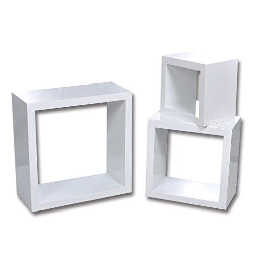 vidaXL Etagères Design Murale 3 Cubes blanc étagère de rangement étagères murales#FE