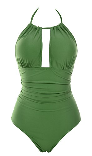 Aidonger Damen Retro Badeanzug Tief V Ausschnitt Rückenfrei Neckholder bauchweg Monokini, S-2XL (L, Dunkelgrün)