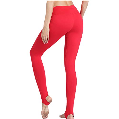 Zhouyue Damen Sporthose Yoga Leggings Strumpfhose, hohe Taille, finness Baumwolle, Gym Workout Hose für Damen, Yoga Laufen Aerobic (Herbst und Winter), rot, M -