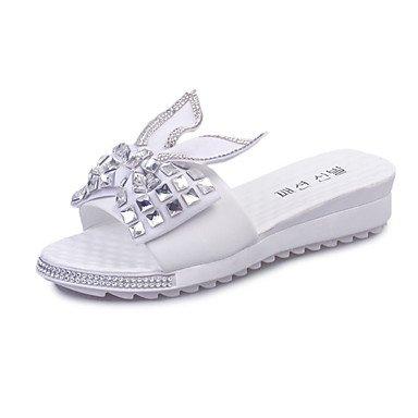 Zormey Sandalen Damen Pu Sommer Outdoor Casual Bowknot Funkelnden Glitter Flachem Absatz Weiß Silber Unter 1 In US5.5 / EU36 / UK3.5 / CN35