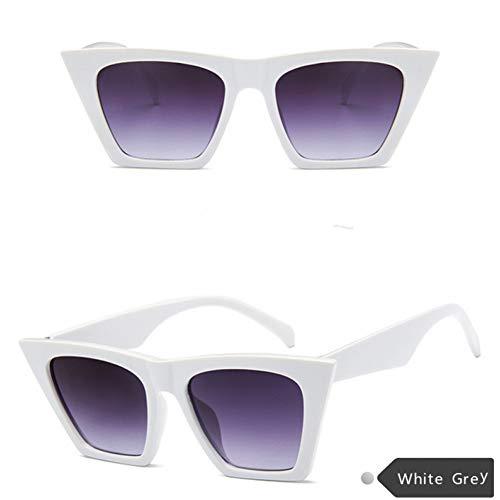 Taiyangcheng Sonnenbrille Frauen Über Größe Quadrat Sonnenbrille Großen Rahmen Hd Objektiv Pc Brille Eyewear Zubehör,Weiß grau