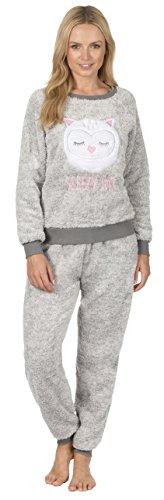 Frauen Damen Fleece Pyjama Schlafanzug LUXUS DICK VLIES Tier Drucken Cuffed Weihnachten Winter Neuheit Brauner Fuchs Graue Eule Größe EUR 36 38 40 42 44 46 48 50 (Pjs Faulenzen)