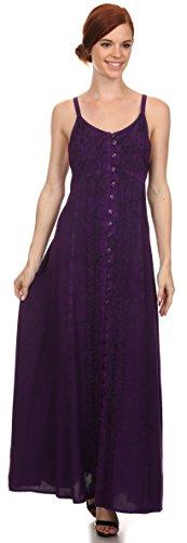 Sakkas Aisley Floral brodé manches sangle réglable Bouton Dress Up Violet