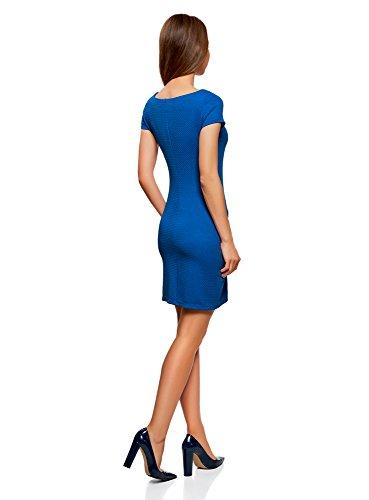 oodji Ultra Damen Kleid aus Strukturiertem Stoff mit U-Boot-Ausschnitt Blau (7502N)