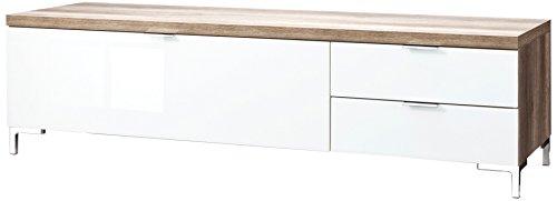 CS Schmalmöbel 45.150.505/014 TV-Board Cleo Typ 12, 163 x 50 x 44 cm, wildeiche / weißglas