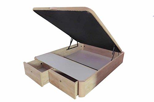 COTINO - Canapé abatible madera con cajones frontales 150/190 Natural-roble