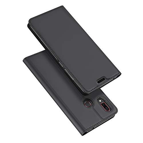 DUX DUCIS Honor Play Hülle, Leder Flip Handyhülle Schutzhülle Tasche Case mit [Kartenfach] [Standfunktion] [Magnetverschluss] für Huawei Honor Play (Grau)
