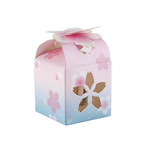 50X Toruiwa Geschenkbox Papier Pralinenschachtel Hochzeit Süßigkeiten Boxen Retro Hohl Sakura für Hochzeit Geburtstag Baby Dusche Weihnachten Taufe Kinder Party Babyparty 6 * 6 * 8.5cm (Rosa) (Babys Halloween-süßigkeiten Für)