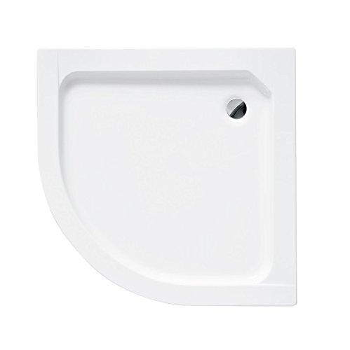 Duschwanne Viertelkreis 70x70 cm ALEX integrierte Acrylschürze + Füße + Ablaufgarnitur Viega fi 50 Duschtasse für Duschkabine flach
