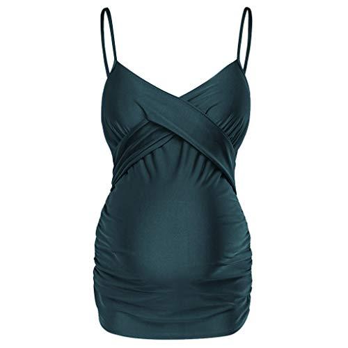 Zolimx Damen Umstandstankini Umstands-Tankini Set Monkini V-Ausschnitt Einteilige Badeanzüge Neckholder Polka Dots Beachwear Schwangere Beachwear -