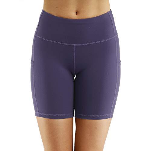 Fleece-active Shorts (WFDDSD Shorts Damen Active Running Yoga Short Workout Shorts mit Tasche Damen Yoga Shorts Hohe Taille Aus Tasche Hosen Lila S)
