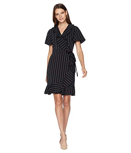 Tahari by ASL Womens Short Sleeve Stripe Smooth Crepe Wrap Dress