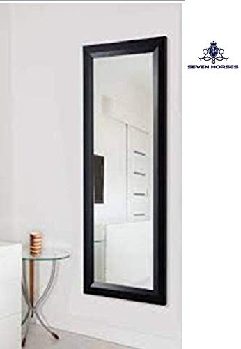 Seven Horses Full Length Water Resistant Synthetic Fiber Wood Made TBL Wall Mirror, 15x39 Inches (Black, bm-1539-tbl)