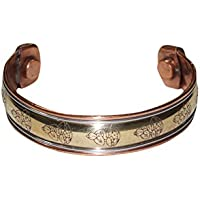 Mogul Interior Peaceful Buddha Gift Magnetic Copper Cuff Bracelet 3 Metal Healing Grounding