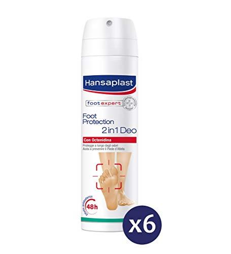 Hansaplast Foot Protection Spray Deodorante per Piedi 2in1, Pacco da 6 Pezzi x 150 ml