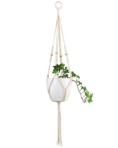 Mkouo Suspension Plante Macramé Pot Suspendu Plante Porte Décoration du Jardin avec 4 Jambes en Corde de Coton 104 cm