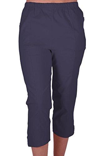 Cora Damen Stretch Capri Crop Shorts Capri-Hose Pants der Frauen 3/4 Dreiviertelhose Navy Gr. 40 (Hose Frauen Navy)