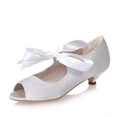 Wuyulunbi@ Scarpe donna raso Primavera Estate della pompa base di nozze tacco Scarpe Peep toe lacci per party di nozze & Sera Argento Rosso Blu Bianco