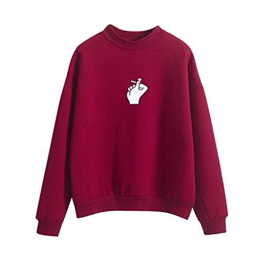 CixNy Sweater Damen Sweatshirt Kleiner Hoher Kragen Langarm T-Shirt O-Hals Gedruckt Finger Love Bluse Tops Pullover Tunika Weste (W-Rot, M) -