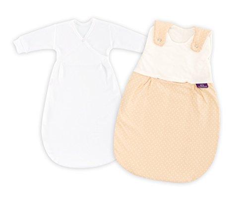 Träumeland S0100251 Babyschlafsack LIEBMICH 2 teilig Set Pünktchen beige, Größe 44, mehrfarbig